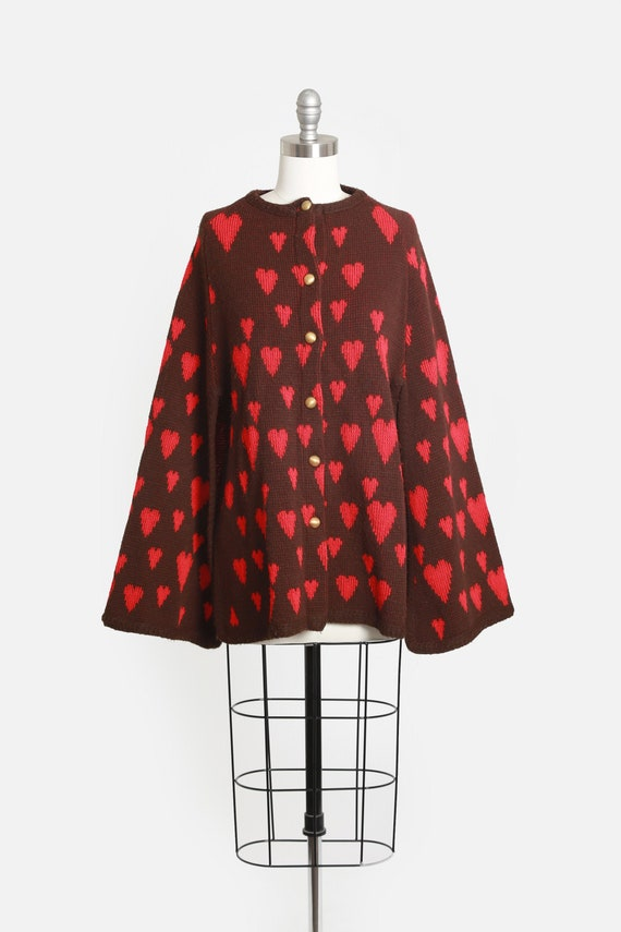 70s knit heart sweater cape