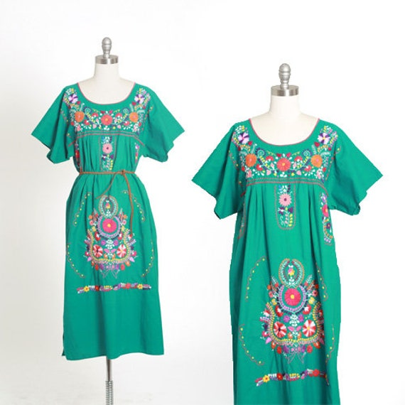 Mexican embroidered dress | Vintage 70s Teal Embro