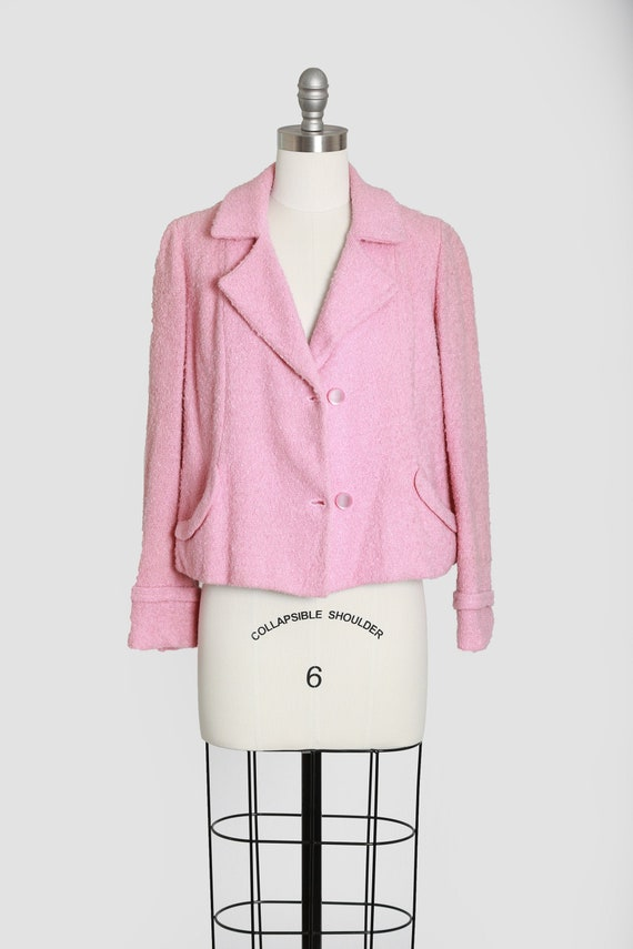 50s pink wool cropped coat