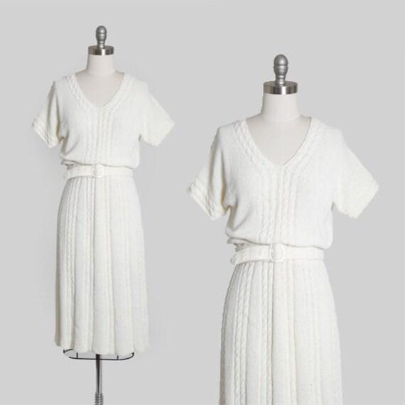 70s knit dress | Vintage 70s cable knit rayon midi