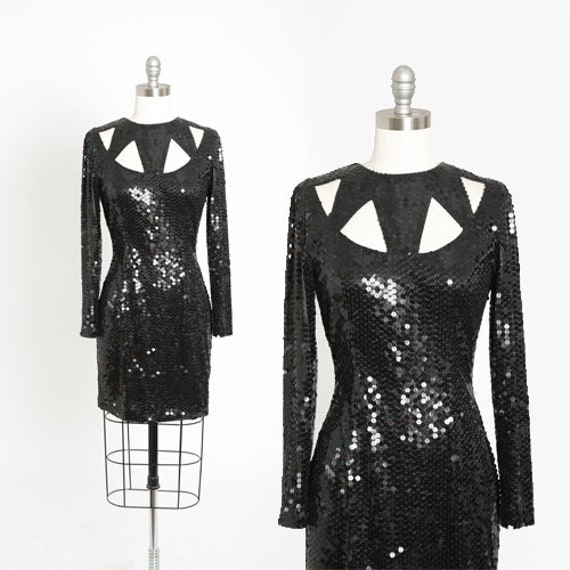 Cutout sequin dress | Vintage 80s black Sequin min