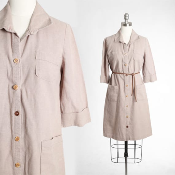 Fawn Linen dress | Vintage 90s brown linen mini dr
