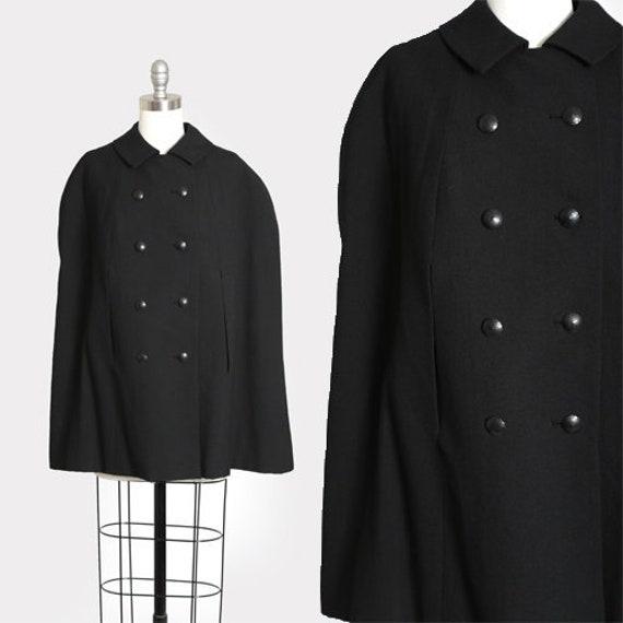 Noir black cape | Vintage 40s 50s black wool cape