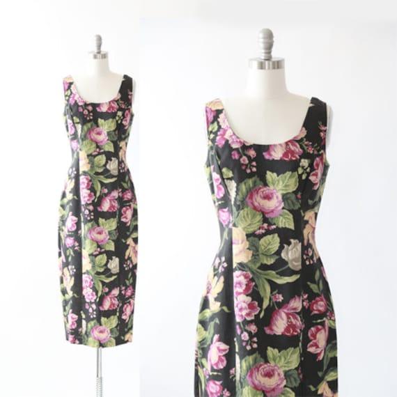 Vintage 90s woven floral maxi dress   autumn black