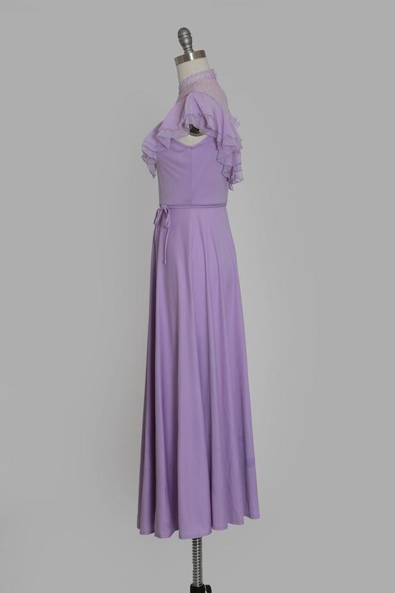 Lilac ruffle maxi   Vintage 70s sheer floral ruff… - image 6