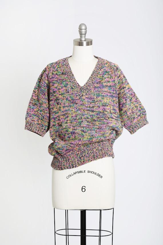 Rainbow V-neck sweater   Vintage 80s hand knit ra… - image 2