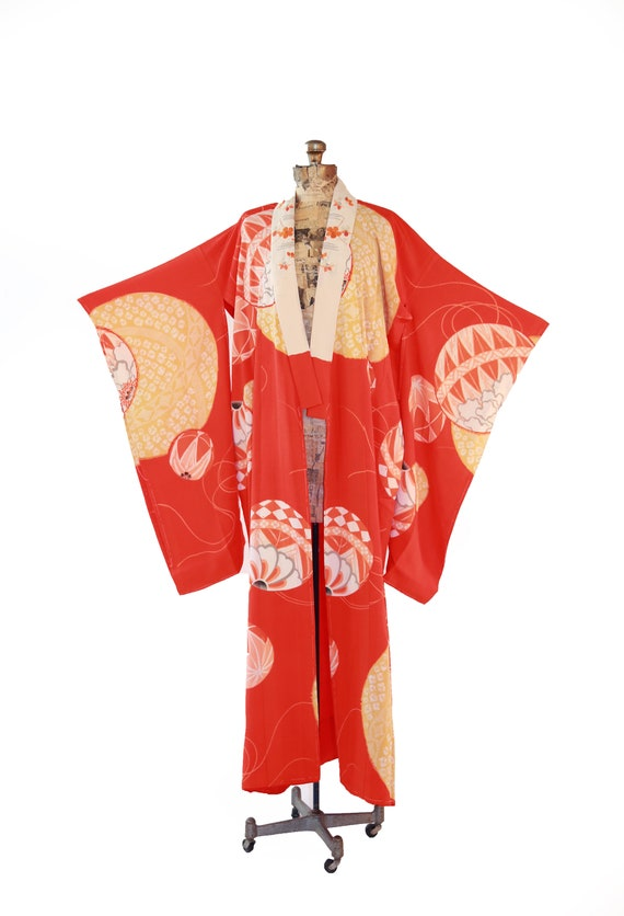 Antique vintage 30s 40s orange silk floral KIMONO