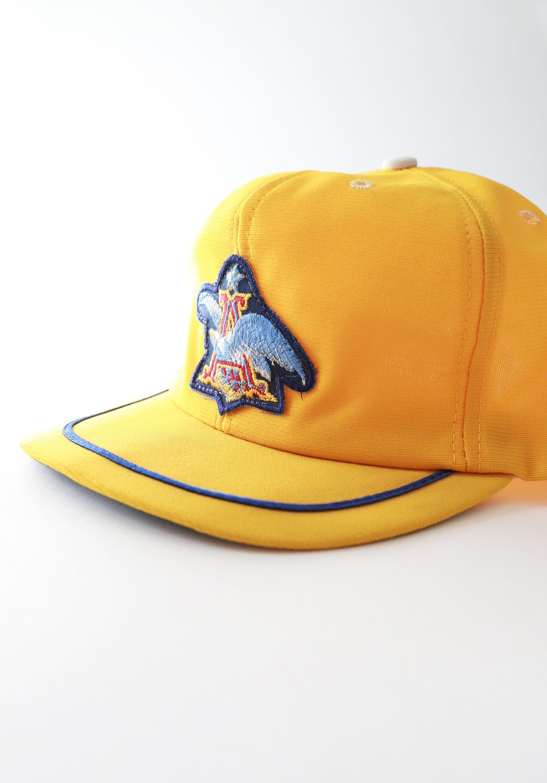 Vintage 70s Anheuser - Busch yellow patch snapback trucker hat USA. 1 de4c0fb836e3
