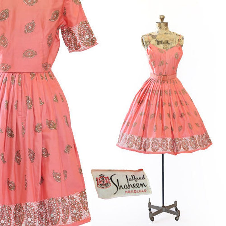 cae0126c793f Alfred Shaheen Dress Vtg 50s Alfred Shaheen Hawaiian dress   Etsy