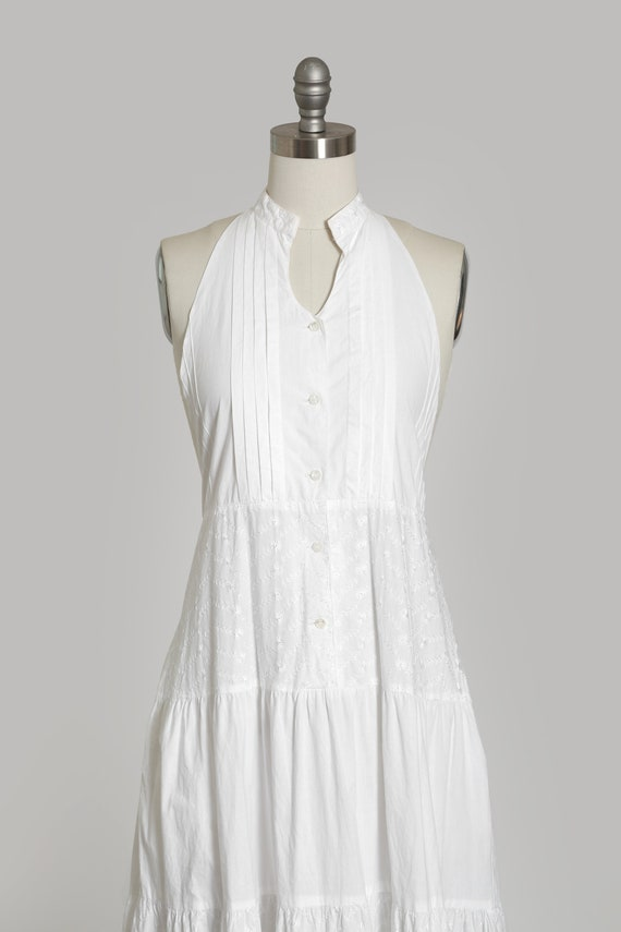 90s white cotton halter dress   1990s embroidered… - image 4