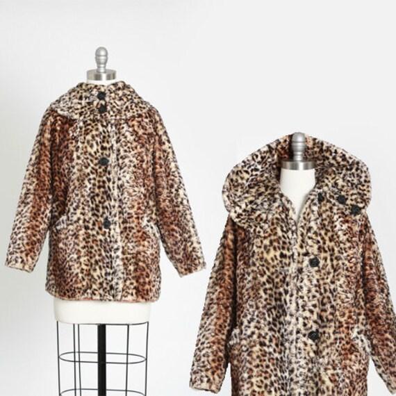 Leopard print coat | Vintage 60s faux fur Leopard