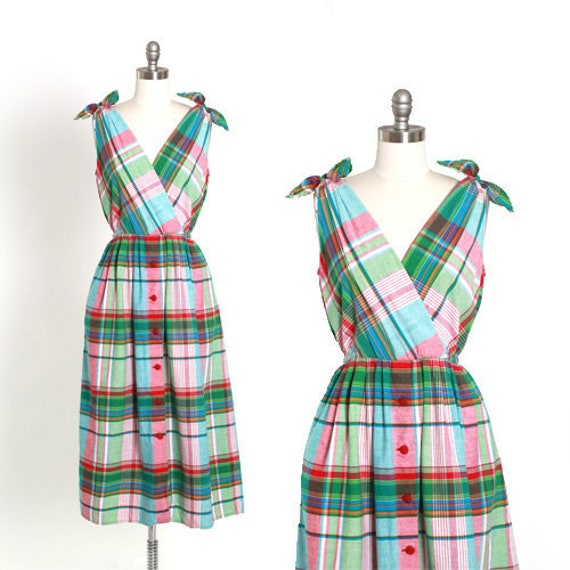 Plaid midi dress | Vintage 90s cotton plaid midi d