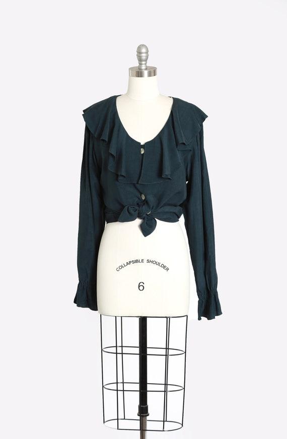 Tie waist blouse   Vintage 90s green ruffle blouse
