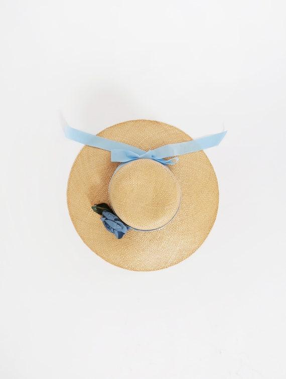 Vintage straw market hat   Blue rose ribbon bow na