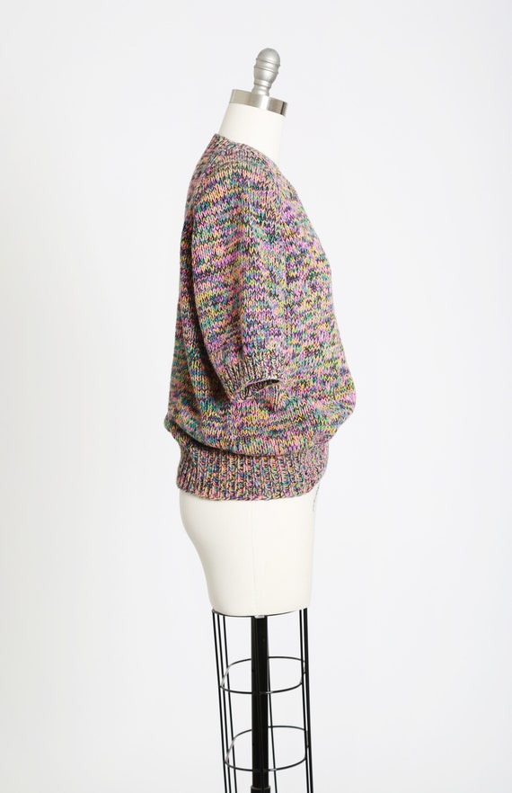 Rainbow V-neck sweater   Vintage 80s hand knit ra… - image 5