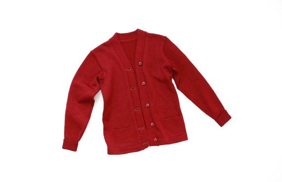 Letterman sweater | Vintage 40s Red knit wool Lett