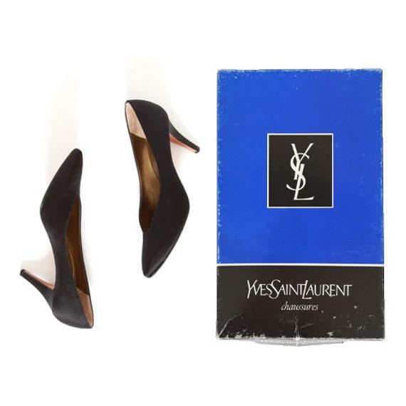 YSL heels   Vintage 90s black satin Yves Saint Lau