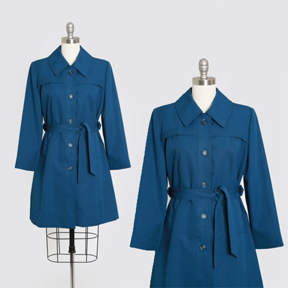 70s blue raincoat