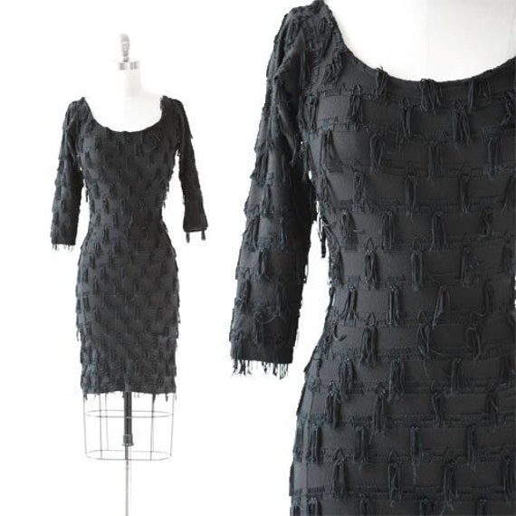 Modet fringe dress | Vintage 80s black fringe body