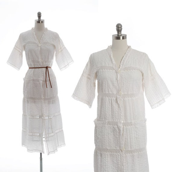 Bohemian crochet dress | Vintage 70s Mexican white