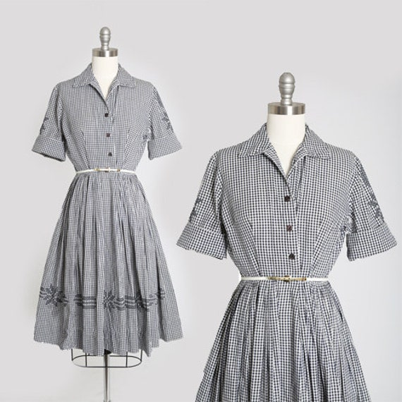 50s gingham dress | Vintage 50s blue + white snowf