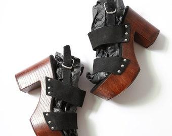 Suede Leather wood heels   Vintage 90s 70s leather wood heels sz. 35  US 5 1/2