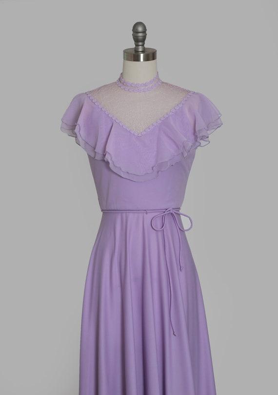 Lilac ruffle maxi   Vintage 70s sheer floral ruff… - image 3