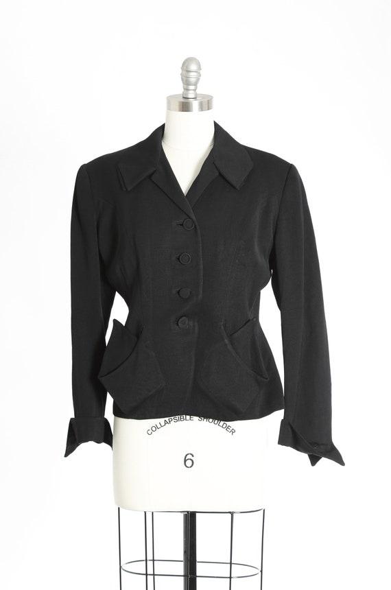 40s Noir Point blazer | Vintage 40s black wool bla