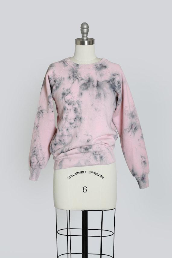 80s pink ice dyed sweatshirt | Vintage 1980s tie d