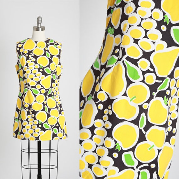 Fruit mini dress | Vintage 60s MOD fruit dress | 1
