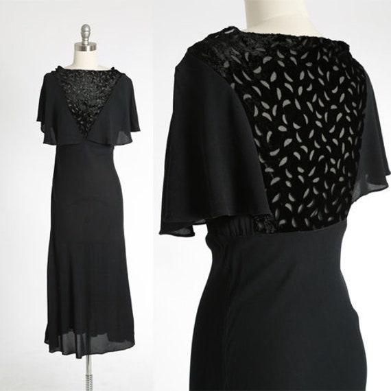 Feuille silk velvet dress   Vintage 30s black silk