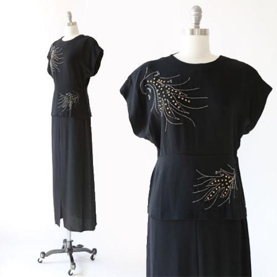Studded gown | Vintage 40s black studded crepe dre