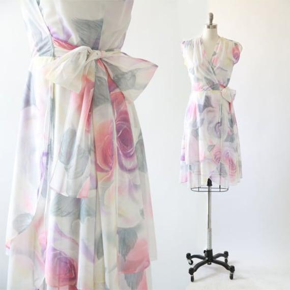 Watercolor rose dress   Vintage 70 floral rose wra