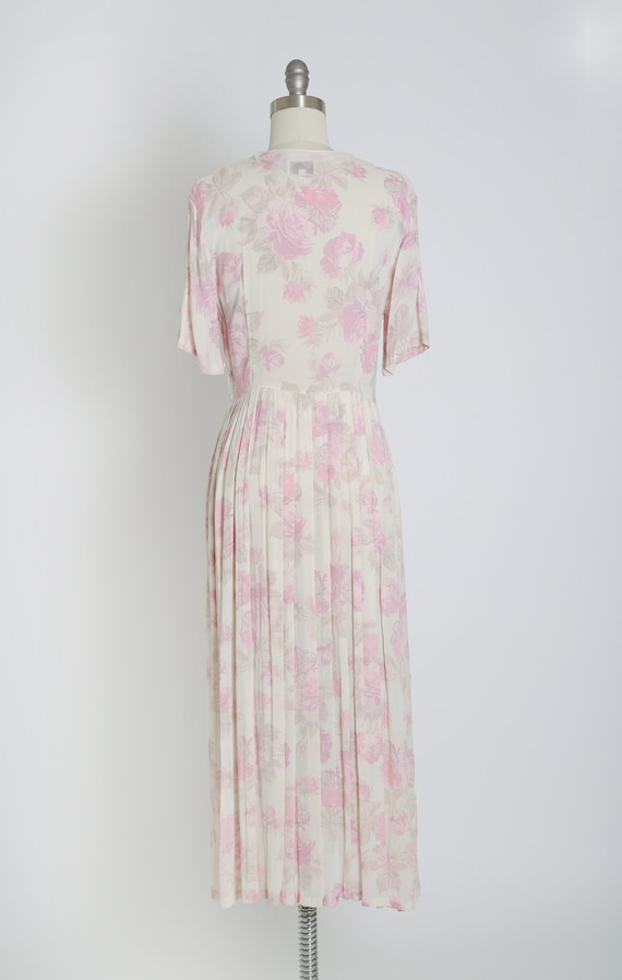 Rose midi dress | Vintage 70s 30s semi sheer pink… - image 8