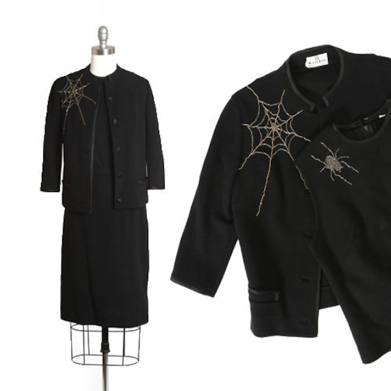 Spiderweb suit | Vintage 60s black knit wool beade