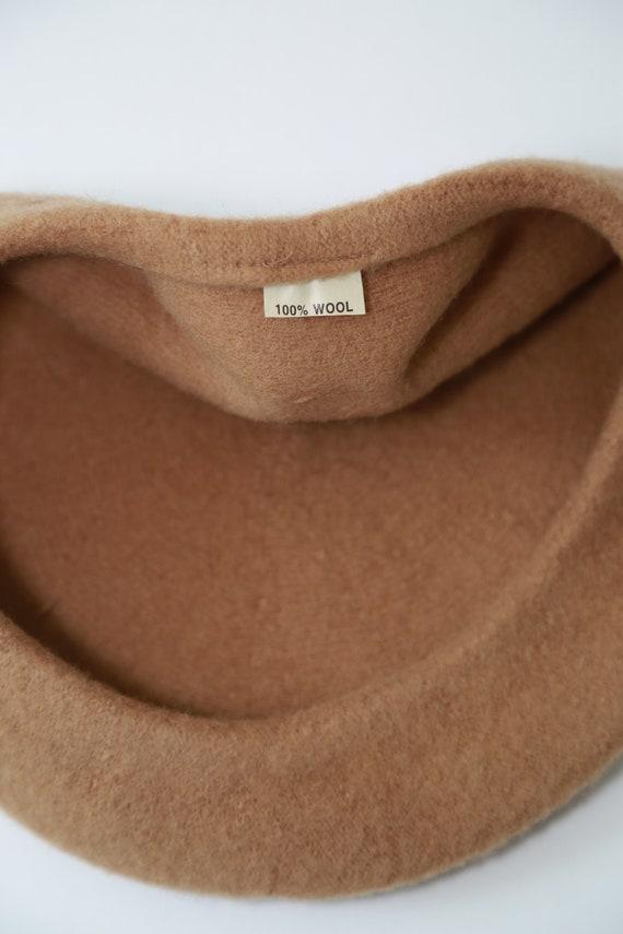 Camel Beret hat | Vintage 90s brown wool beret - image 8