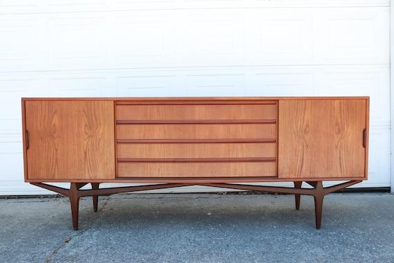 Danish Teak Credenza For Sale : Mcm teak credenza vintage mid century danish modern etsy