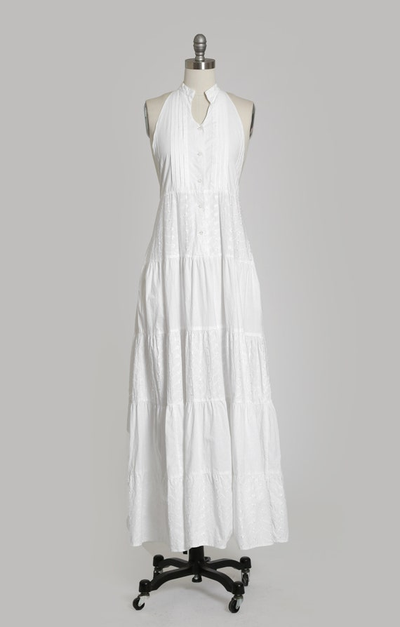 90s white cotton halter dress   1990s embroidered… - image 3