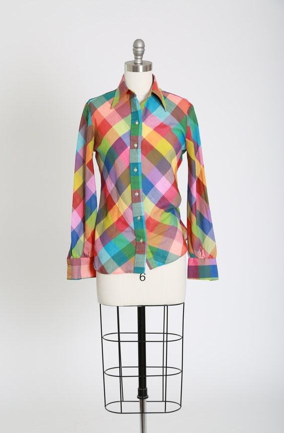 Vintage 70s wrangler rainbow shirt