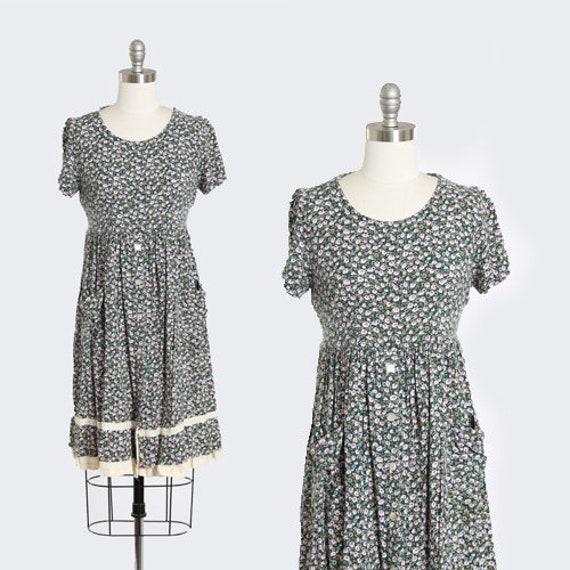Botanical babydoll dress | Vintage 90s floral rayo