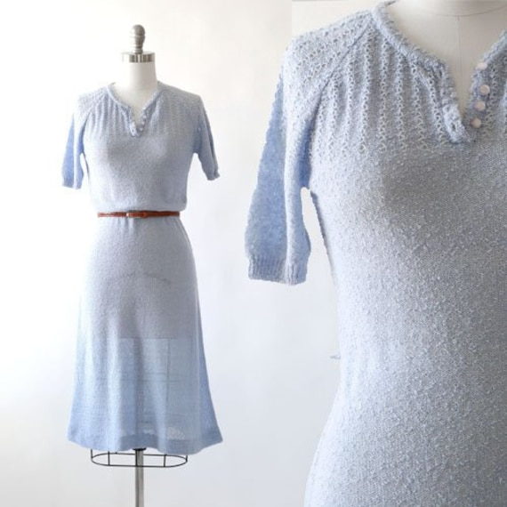 Blue Dust knit dress | Vintage 70s does 30s Croche
