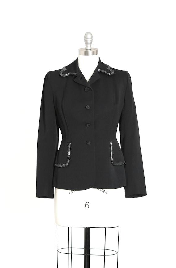 40s beaded blazer | Vintage 40s black wool hand be
