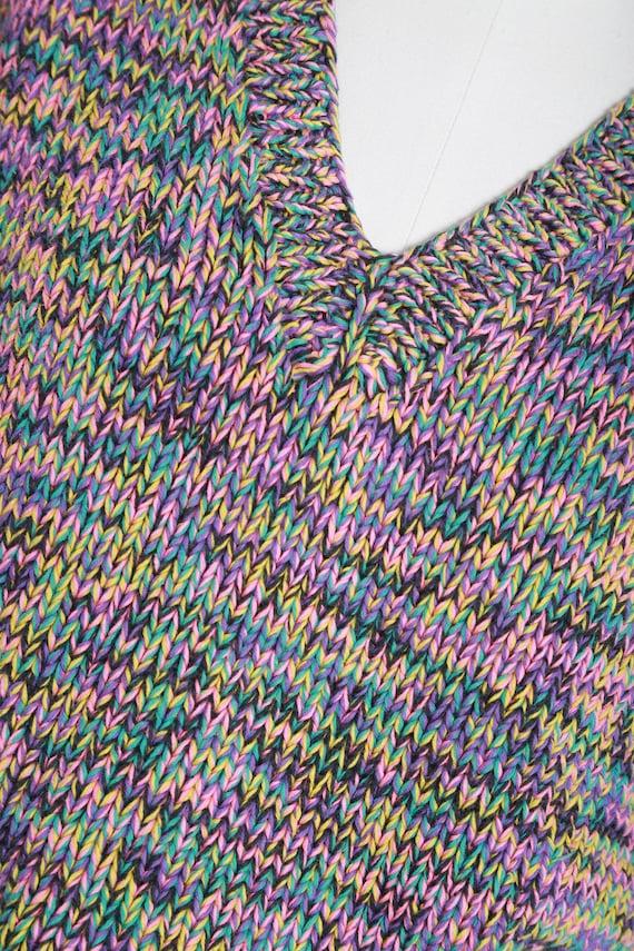Rainbow V-neck sweater   Vintage 80s hand knit ra… - image 4