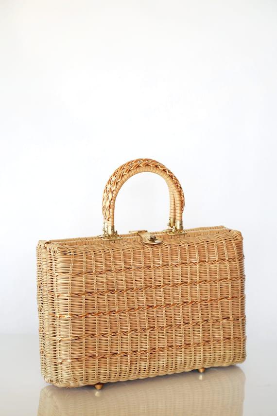 Adrian's wicker purse | Vintage 50s 60s woven gold