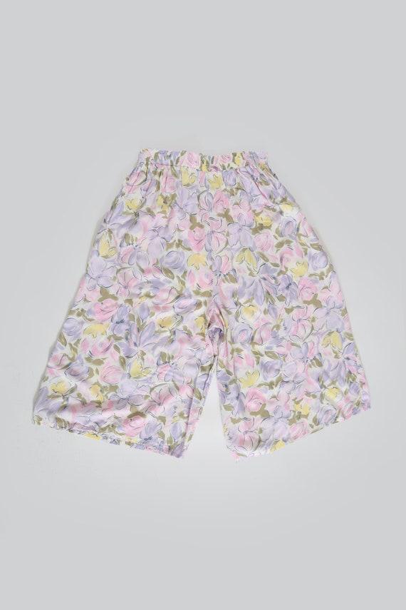 90s pastel floral gaucho pants