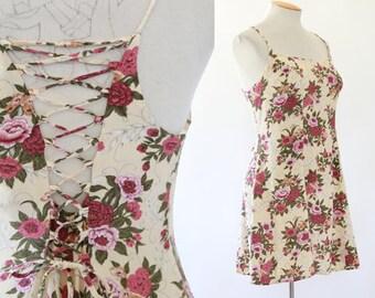 botanical lace up mini dress