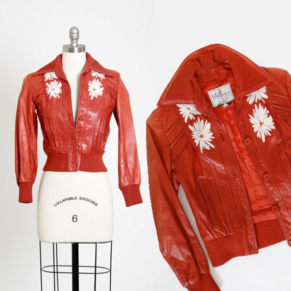 Wilsons leather floral jacket | Vintage 70s Wilson