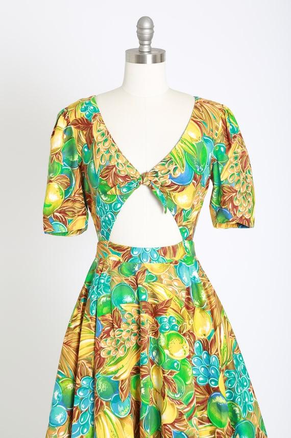 90s Fruit Salad  Tropical Floral Print Bandage  Bodycon Figure Hugging Wiggle Mini Dress MNZ vibes!