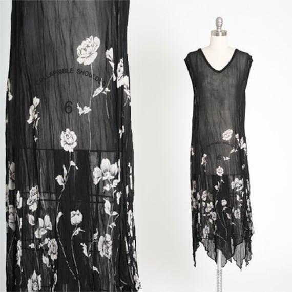 Monochromatic rayon dress | Vintage 90s 30s black