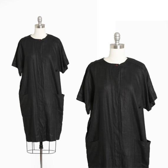 Cocoon linen dress | Vintage 90s black linen minim